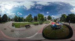 360Vr Video Dad and Child Near City Fountain City Day Opole Colorful Sculpture Stock Footage
