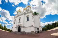Fisheye view on Catherine's Cathedral in Pushkin town in summer sunny day Stock Photos