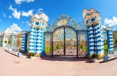 Openwork gate of Catherine Palace - the summer residence of the Russian tsars - stock photo