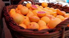 Fresh grapefruits in a farmer cart Stock Footage