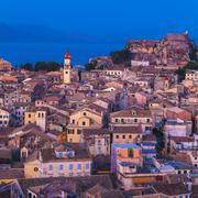 Aerial view from New fortress on the city at night, Corfu - stock photo