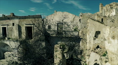 Destroyed houses. Video footage of a deserted ghost town. Aerial video N. - stock footage