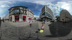 360Vr Video Dad Kid With Balloon City Day Opole Walking by Vintage Square Stock Footage