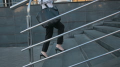 Businesswoman Legs In High-Heeled Shoes Walking Up Stairs On Stairway Stock Footage