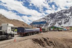 Border crossing from Argentina to Chile Stock Photos
