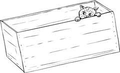 Outline of tabby kitten peeking from crate Stock Illustration