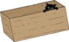 Black cat peeking from inside a box - stock illustration