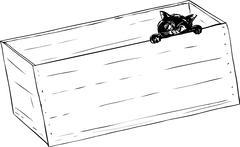 Outline of black kitten in crate - stock illustration