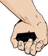 Inside of hand holding charcoal block over white Stock Illustration