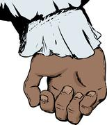 Isolated clenched human hand in 18th century sleeve Stock Illustration