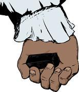 Inside of hand holding charcoal block Stock Illustration