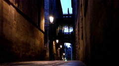 Street in the Gothic quarter of Barcelona at night, dolly Stock Footage