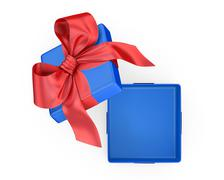 Open gift box with bow - stock illustration