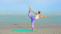 Lord of the dance yoga pose - stock footage