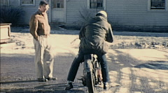 USA 1950s: man riding a motorbike Stock Footage