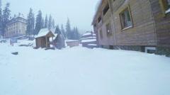 Wooden church in ski resort Stock Footage