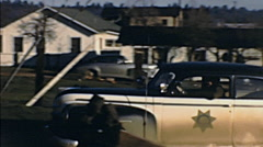 USA 1950s: car leaving the house Stock Footage
