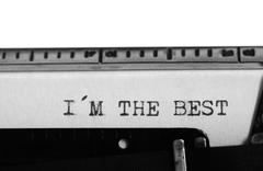 Typing text: i´m the best - stock photo