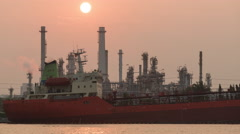 4K Time lapse the vessel enter the a Oil refinery Stock Footage
