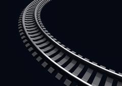 Illustration of a Single curved railroad track on dark - stock illustration
