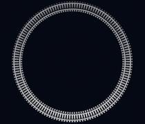 Illustration of a Single looped railroad track on dark - stock illustration