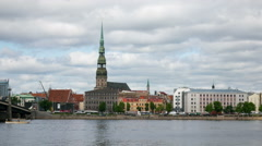General view on Riga across the Daugava river. timelapse Stock Footage