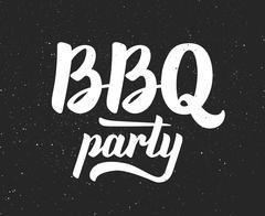 BBQ party logo. Barbeque text lettering label - stock illustration