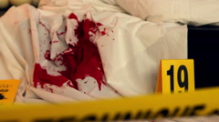 Crime scene with blood. Stock Footage