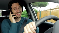 Cool happy man laughing talking on the phone while driving car 4K Stock Footage
