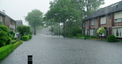 Extreme rain and downpour in netherlands street, 4K Stock Footage