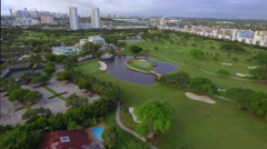 Aerial video tour Diplomat Golf Course Hallandale Stock Footage