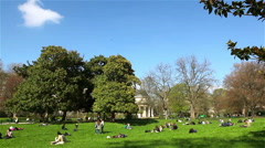 People have a rest in the Monceau park in Paris Stock Footage