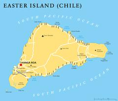 Easter Island Political Map - stock illustration