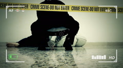 Crime scene body evidence recording Stock Footage