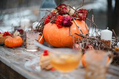 Halloween inspiration. Autumn still life. pumpkin, dry roses, viburnum honey Stock Photos