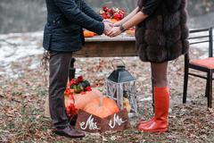 Halloween inspiration. Autumn still life. pumpkin, dry roses, viburnum honey Kuvituskuvat