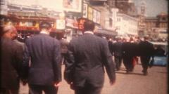3352 businessmen walk the boardwalk in Atlantic City - vintage film home movie - stock footage