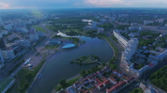 Aerial View. Flying over the city of Minsk buildings, landscapes, river. - stock footage