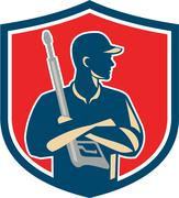 Power Washer Arms Crossed Pressure Washing Gun Crest Retro - stock illustration