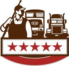 Power Washer Worker Truck Train Stars Retro - stock illustration