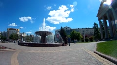 Fountain in front of the Drama theater in Kemerovo city, Russia Stock Footage