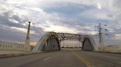 Historic Demolished Los Angeles 6th Street Bridge Driving Time Lapse Stock Footage