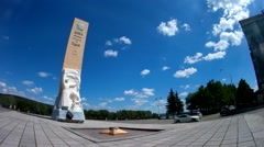 Panorama of the monument to soldiers dead in Second World war. Kemerovo, Russia Stock Footage