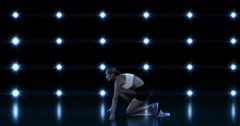 Profile view of sportswoman is running Stock Footage