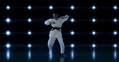 Sportswoman is practising judo Stock Footage