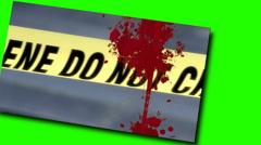 Crime scene pannel rotating on a green screen Stock Footage