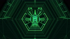Seamless 3d Animation spaceship or robotic tunnel futuristic technology zooming Stock Footage