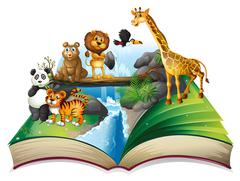 Book of wild animals at waterfall Stock Illustration
