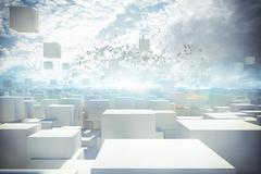 Futuristic city 3d rendering Stock Illustration