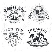 Set of Dino Logos. T-rex skull t-shirt illustration concept on grunge background - stock illustration